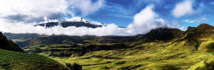A panoramic view of Nevado del Ruiz an active Volcano.   In Parque Nacional Natural Los Nevados near Manizales, Colombia.
