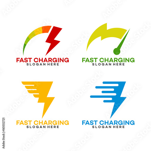 Set Of Fast Charging Logo Template With Thunder Symbol Stock Image
