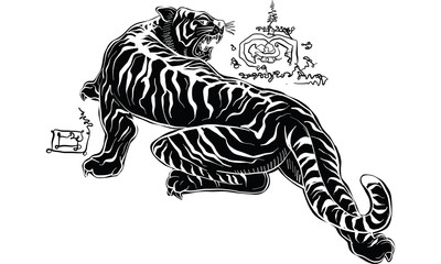 Thai traditional painting, tiger
