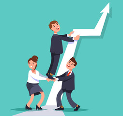 Vector flat illustration business persons work together to achieve the goal. Business teamwork concept