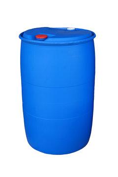 Blue plastic bucket on white background