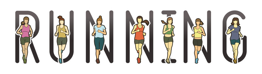 Running text font design, Marathon runners, Group of people running, Women running graphic vector.