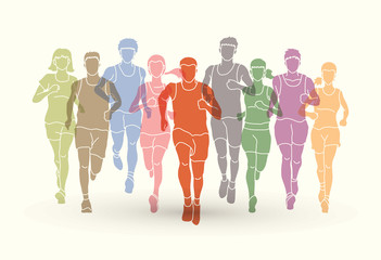 Marathon runners, Group of people running, Men and women running designed using colorful graphic vector.