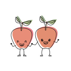 white background with watercolor silhouette of pair of apple fruits caricature vector illustration