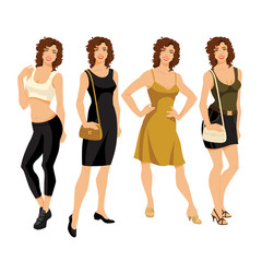 vector  illustration of woman in different clothes isolated on white background
