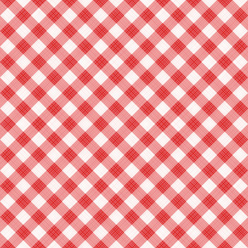 Seamless (you see 4 tiles) red diagonal gingham cloth, tablecloth, pattern, swatch, background, or wallpaper with fabric texture visible