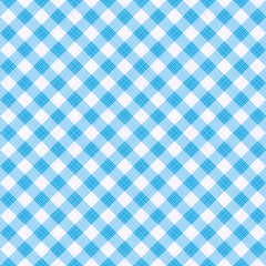 Seamless (you see 4 tiles) blue diagonal gingham cloth, tablecloth, pattern, swatch, background, or wallpaper with fabric texture visible