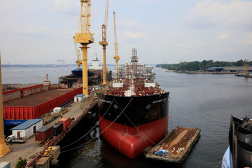 The Alexander Spirit oil tanker undergoes works at Sembawang shipyard in Singapore
