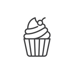 Cupcake with cherry on top line icon, outline vector sign, linear style pictogram isolated on white. Desert symbol, logo illustration. Editable stroke. Pixel perfect vector graphics
