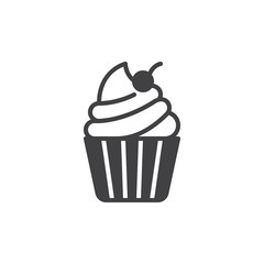 Cupcake with cherry on top icon vector, filled flat sign, solid pictogram isolated on white. Desert symbol, logo illustration. Pixel perfect vector graphics