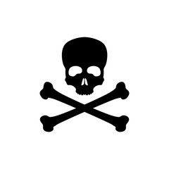 Black silhouette of skull and bones on white background. Pirate flag Jolly Roger. Poison Icon
