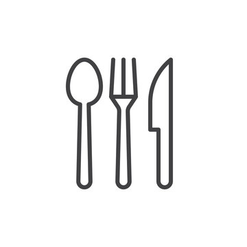 Spoon, fork, knife. Cutlery line icon, outline vector sign, linear style pictogram isolated on white. Food, restaurant symbol, logo illustration. Editable stroke. Pixel perfect vector graphics