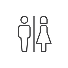 Male and female toilet line icon, outline vector sign, linear style pictogram isolated on white. WC symbol, logo illustration. Editable stroke. Pixel perfect vector graphics