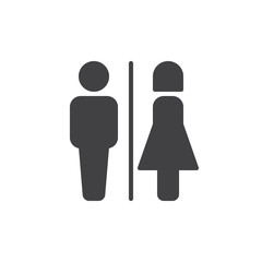 Male and female toilet icon vector, filled flat sign, solid pictogram isolated on white. WC symbol, logo illustration. Pixel perfect vector graphics