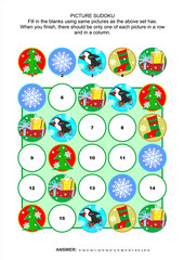 Christmas or New Year themed picture sudoku puzzle 5x5 (one block) with winter holiday icons. Answer included.