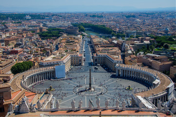 Rome, Italy (August 2012) Famous Saint Peter's Square in Vatican and aerial view of the city.
