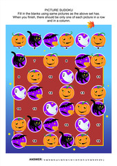 Halloween themed picture sudoku puzzle 6x6 (one block) with pumpkins, bats, black cat and little ghost. Answer included.