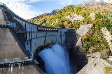 Mountains with green lake at Kurobe dam