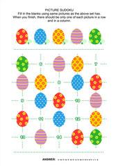 Easter themed picture sudoku puzzle 5x5 (one block) with colorful painted eggs. Answer included.