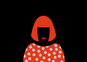 Portrait of woman with pois, minimalist Yayoi Kusama