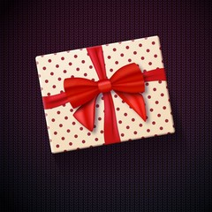 Illustration of Vector Realistic Gift Box with Red Ribbon. Greeting Card Template