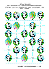 Picture sudoku puzzle 5x5 (one block) with little panda bears. Answer included.