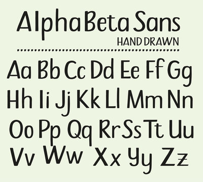 Hand drawn sans serif alphabet containing all upper and lower case letters