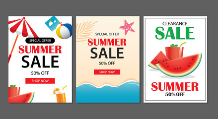 Summer sale emails background layout banners. Can be used for ,flyers, invitation, posters, brochure, voucher discount. Vector ads shopping template..