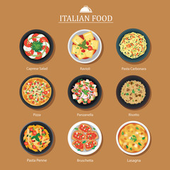 Set of italian food flat design. Vector illustration background.