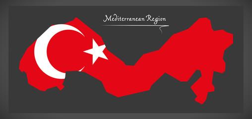 Mediterranean Region Turkey map with Turkish national flag illustration