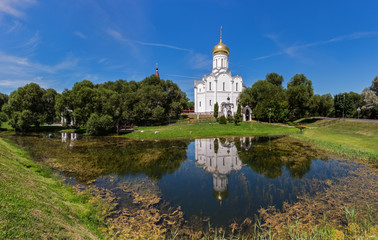 Minsk, Belarus. Church of the Intercession of the Theotokos, scenic view at view at sunny day. Holy protection Cathedral in Minsk