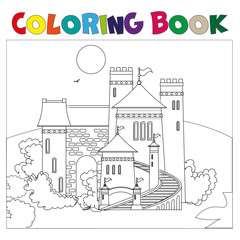 Coloring book with castle