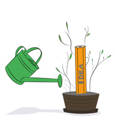 Watering can is watering a yellow pencil idea. Hand-drawn cartoon vector illustration for business design and infographics.