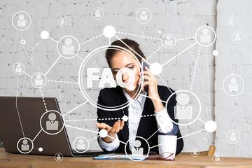 Wall Mural - Business woman push button FAQ web network