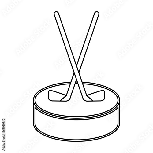 Two Transparent Outline Hockey Sticks Crossed On A Puck On White