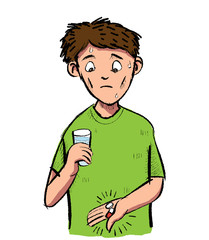 Cartoon of man scared of a pill and capsule. Vector clipart Illustration