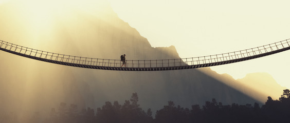 Man with backpack on a rope bridge Wall mural