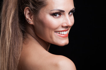 blonde beauty woman portrait with  perfect white smile