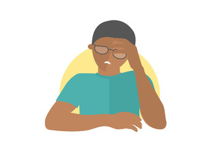 Handsome black man in glasses depressed, sad, weak. Flat design icon. Boy with feeble depression emotion. Simply editable isolated on white vector sign