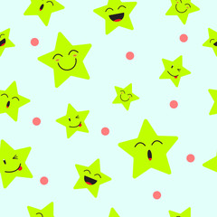 Cute Star Emoji Seamless Pattern Background