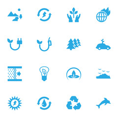 Set Of 16 Ecology Icons Set.Collection Of Cleaning, Energy, Purification And Other Elements.