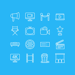 Vector Illustration Of 16 Movie Icons. Editable Pack Of Slideshow, Cinema Fence, Resolution And Other Elements.