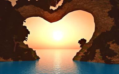soleil sur montagne coeur 4
