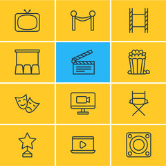 Vector Illustration Of 12 Cinema Icons. Editable Pack Of Tragedy, Hall, Shooting Seat And Other Elements.