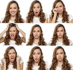 collage with different emotions in one young woman