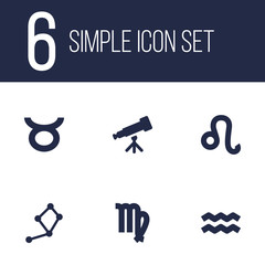 Set Of 6 Astronomy Icons Set.Collection Of Binoculars, Lion, Water Bearer And Other Elements.