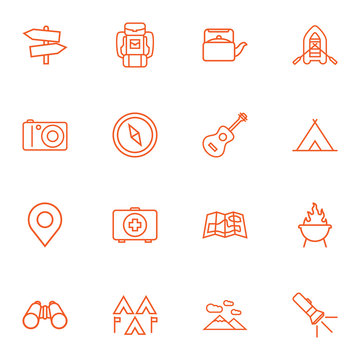 Set Of 16 Adventure Outline Icons Set.Collection Of Pocket Torch, Shelter, Compass And Other Elements.