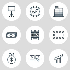 Vector Illustration Of 9 Business Icons. Editable Pack Of Columns, Solution, House And Other Elements.