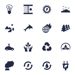 Set Of 16 Bio Icons Set.Collection Of Contamination, Car, Saving And Other Elements.