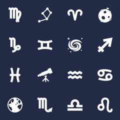 Set Of 16 Astrology Icons Set.Collection Of Lunar, Lion, Scales And Other Elements.